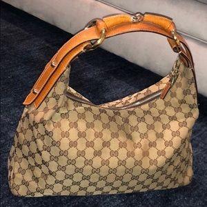 Gucci Caramel GG Canvas Hobo Bag